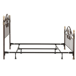 Leggett & Platt Dynasty Bed w/ Arched Metal Duo Panels & Scalloped Finial Posts, Brown Finish, Queen-Beds-HipBeds.com