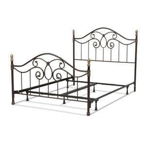 Leggett & Platt Dynasty Bed w/ Arched Metal Duo Panels & Scalloped Finial Posts, Brown Finish, King-Beds-HipBeds.com