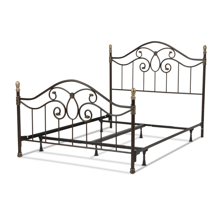 Leggett & Platt Dynasty Bed w/ Arched Metal Duo Panels & Scalloped Finial Posts, Brown Finish, King