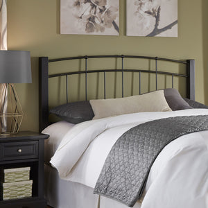 Leggett & Platt Scottsdale Metal Headboard w/ Sloping Top Rails & Dark Wooden Posts, Black Finish, Twin-Headboards & Footboards-HipBeds.com