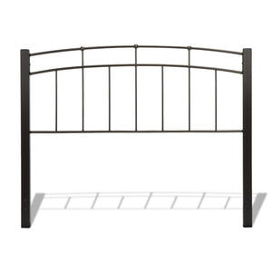 Leggett & Platt Scottsdale Metal Headboard w/ Sloping Top Rails & Dark Wooden Posts, Black Finish, King-Headboards & Footboards-HipBeds.com