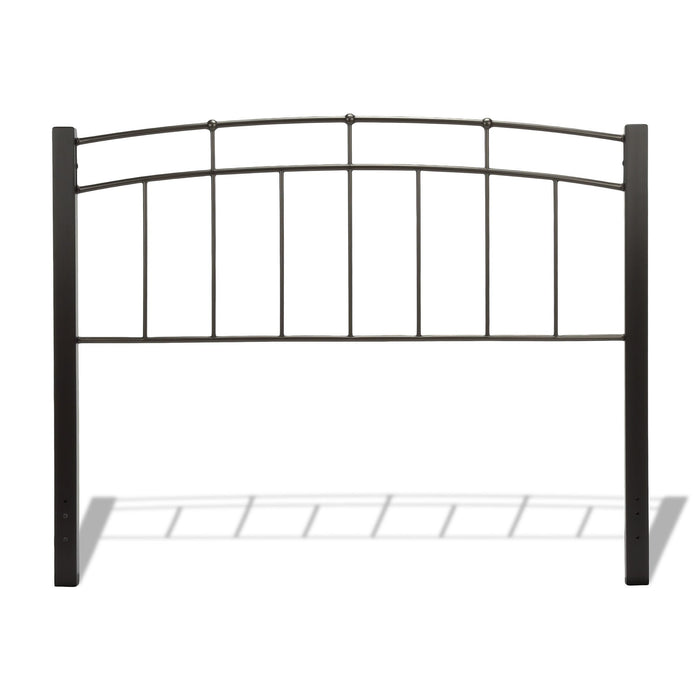 Leggett & Platt Scottsdale Metal Headboard w/ Sloping Top Rails & Dark Wooden Posts, Black Finish, King