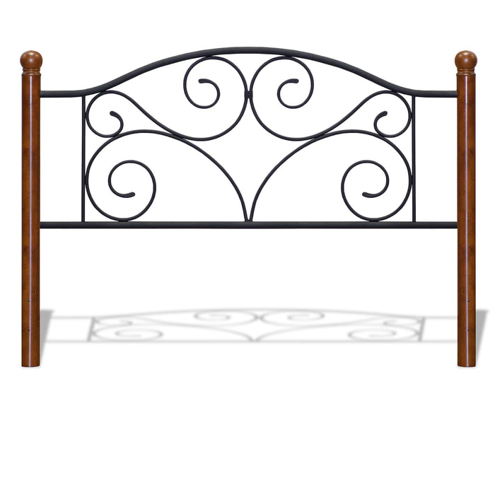 Leggett & Platt Doral Headboard w/ Dark Walnut Wood Posts & Metal Grill, Matte Black Finish, Full