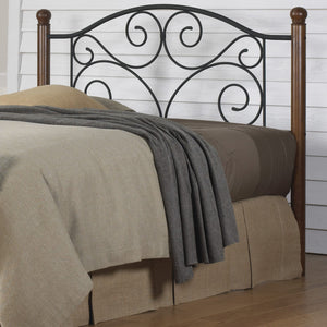Leggett & Platt Doral Headboard w/ Dark Walnut Wood Posts & Metal Grill, Matte Black Finish, Full-Headboards & Footboards-HipBeds.com