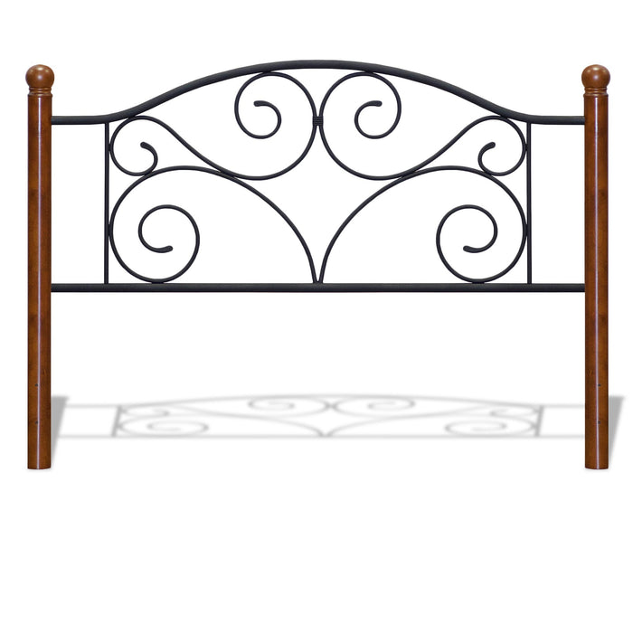 Leggett & Platt Doral Headboard w/ Dark Walnut Wood Posts & Metal Grill, Matte Black Finish, Queen
