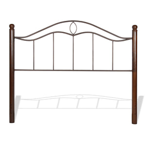 Leggett & Platt Cassidy Metal Headboard Panel w/ Dark Walnut Wood Posts, Mink Finish, Queen-Headboards & Footboards-HipBeds.com