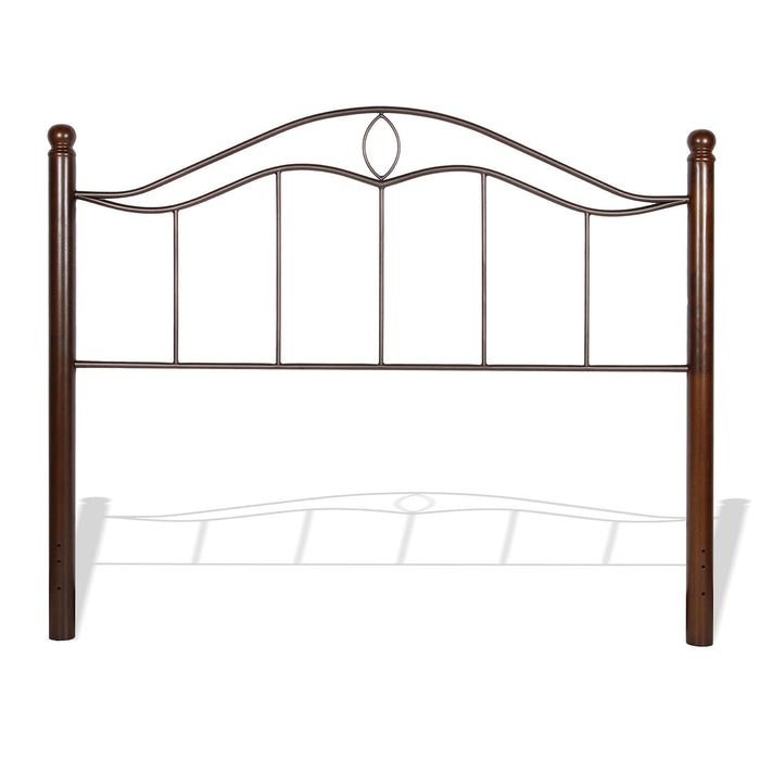 Leggett & Platt Cassidy Metal Headboard Panel w/ Dark Walnut Wood Posts, Mink Finish, Queen