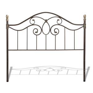 Leggett & Platt Dynasty Headboard w/ Arched Metal Grill & Scalloped Finial Posts, Brown Finish, Queen-Headboards & Footboards-HipBeds.com