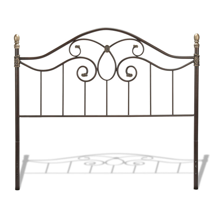 Leggett & Platt Dynasty Headboard w/ Arched Metal Grill & Scalloped Finial Posts, Brown Finish, Queen