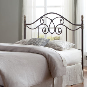 Leggett & Platt Dynasty Headboard w/ Arched Metal Grill & Scalloped Finial Posts, Brown Finish, California King-Headboards & Footboards-HipBeds.com