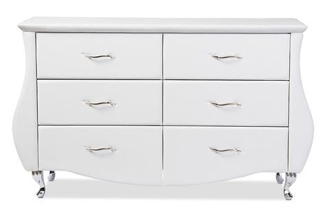 Baxton Studio Enzo Modern and Contemporary White Faux Leather 6-Drawer Dresser