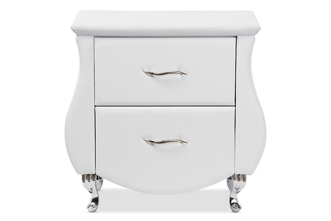 Baxton Studio Erin Modern and Contemporary White Faux Leather Upholstered Nightstand
