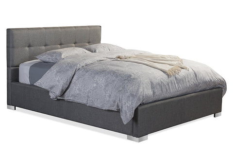 Baxton Studio Regata Modern and Contemporary Grey Fabric Upholstered King Size Platform Bed - Grey-Platform Beds-HipBeds.com