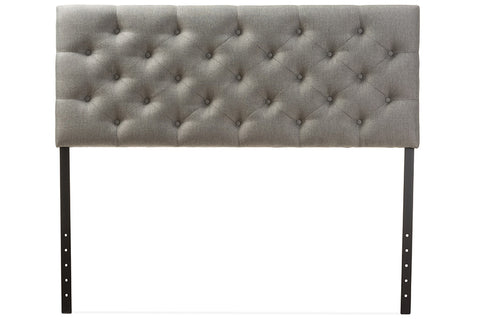 Baxton Studio Viviana Modern and Contemporary Grey Fabric Upholstered Button-tufted Queen Size Headboard-Headboards & Footboards-HipBeds.com