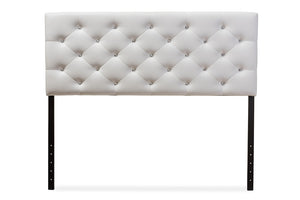 Baxton Studio Viviana Modern and Contemporary White Faux Leather Upholstered Button-tufted Full Size Headboard-Headboards & Footboards-HipBeds.com