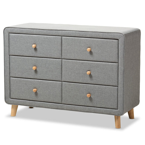 Baxton Studio Jonesy Grey 6-Drawer Dresser - 1