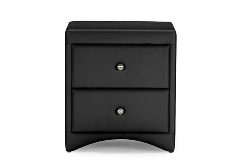 Baxton Studio Dorian Black Faux Leather Upholstered Modern Nightstand-Nightstands-HipBeds.com