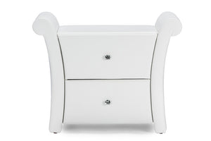 Baxton Studio Victoria Matte White PU Leather 2 Storage Drawers Nightstand Bedside Table - White-Platform Beds-HipBeds.com