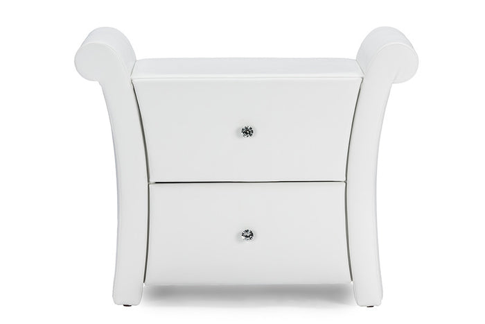 Baxton Studio  Victoria Matte White PU Leather 2 Storage Drawers Nightstand Bedside Table - White