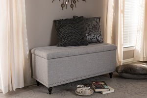 Baxton Studio Kaylee Modern Classic Grayish Beige Fabric Upholstered Button-Tufting Storage Ottoman Bench