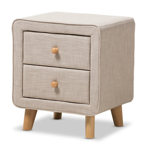 Baxton Studio Jonesy Beige Linen 2-Drawer Nightstand - 1