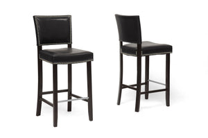 Baxton Studio Aries Black Modern Bar Stool with Nail Head Trim - Set of 2