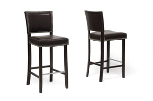 Baxton Studio Aries Dark Brown Modern Bar Stool with Nail Head Trim - Set of 2