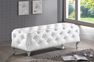 Baxton Studio Stella Crystal Tufted White Leather Modern Bench-Benches-HipBeds.com