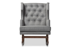 Baxton Studio Iona Mid-century Retro Modern Grey Fabric Upholstered Button-tufted Wingback Rocking Chair-Chairs-HipBeds.com