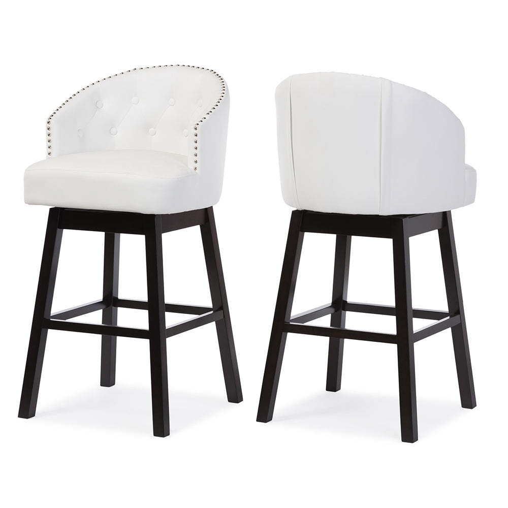 Remarkable Baxton Studio Avril White Faux Leather Tufted Swivel Barstool With Nail Heads Trim Set Of 2 Pabps2019 Chair Design Images Pabps2019Com