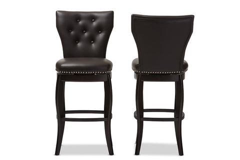 Baxton Studio Leonice Modern and Contemporary Dark Brown Faux Leather Upholstered Button-tufted 29-Inch Swivel Bar Stool - Set of 2