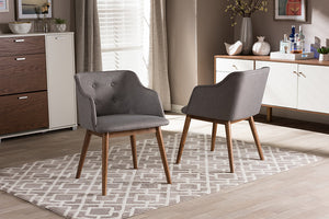 Baxton Studio Harrison Mid-Century Modern Grey Fabric and Walnut Brown Wood Button-Tufted Accent Chair - Set of 2