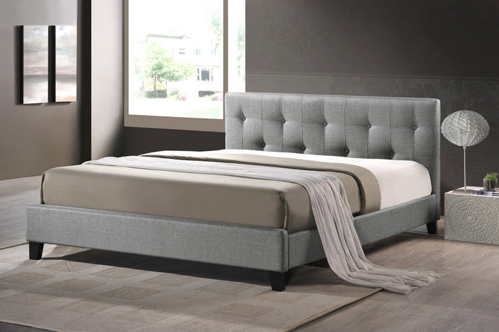 Baxton Studio Annette Gray Linen Modern Bed with Upholstered Headboard - Queen Size - Grey