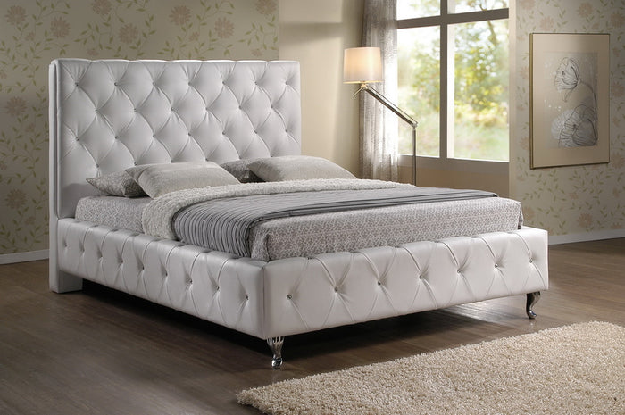 Baxton Studio Stella Crystal Tufted White Modern Bed with Upholstered Headboard - King Size - White