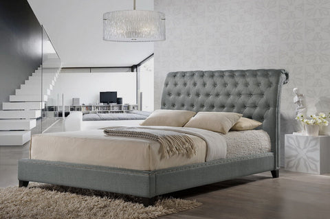 Baxton Studio Jazmin Tufted Light Beige Modern Bed with Upholstered Headboard – King Size - Grey-Platform Beds-HipBeds.com