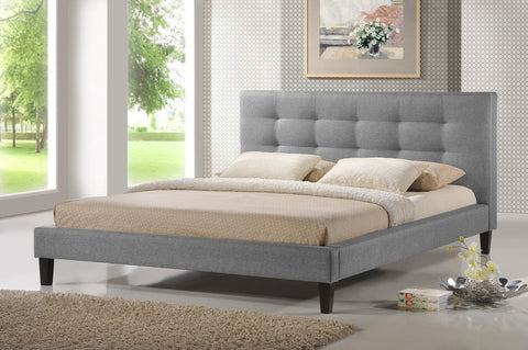 Baxton Studio Quincy Gray Linen Platform Bed - King Size - Grey-Platform Beds-HipBeds.com