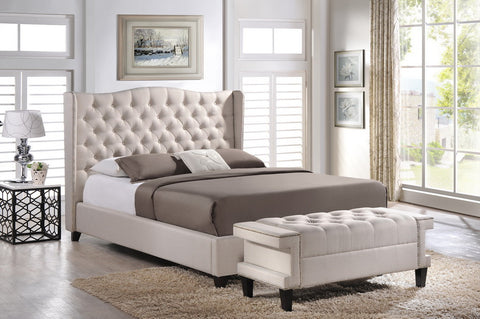 Baxton Studio Norwich Light Beige Linen Modern Platform Bed – Queen Size With Bench