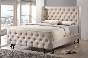 Baxton Studio Francesca Beige Linen Modern Platform Queen Size Bed with Bench - Light Beige-Platform Beds-HipBeds.com