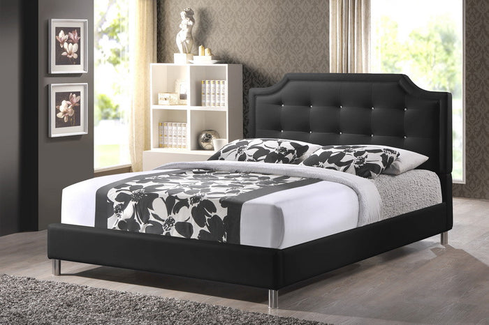 Baxton Studio Carlotta Black Modern Bed with Upholstered Headboard - Queen Size - Black