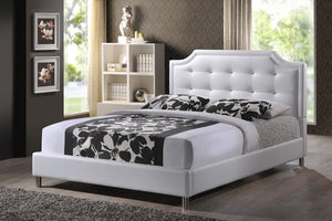 Baxton Studio Carlotta White Modern Bed with Upholstered Headboard - Queen Size - White-Platform Beds-HipBeds.com