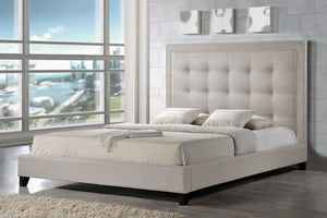 Baxton Studio Hirst Light Beige Platform Bed— Queen Size - Light Beige-Platform Beds-HipBeds.com
