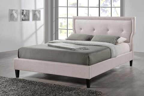 Baxton Studio Marquesa Contemporary Light Beige Fabric Queen Size Bed - Light Beige-Platform Beds-HipBeds.com