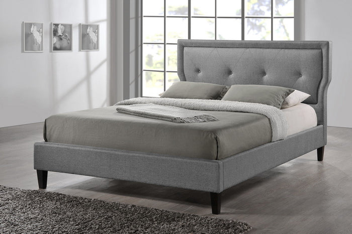 Baxton Studio Marquesa Contemporary Grey Fabric Full Size Bed - Grey