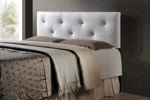Baxton Studio Dalini Modern and Contemporary Queen White Faux Leather Headboard with Faux Crystal Buttons-Headboards & Footboards-HipBeds.com