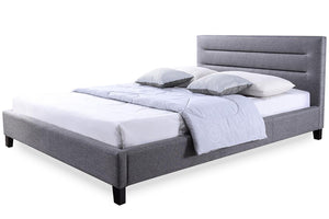Baxton Studio Hillary Modern and Contemporary King Size Grey Fabric Upholstered Platform Base Bed Frame - Grey-Platform Beds-HipBeds.com