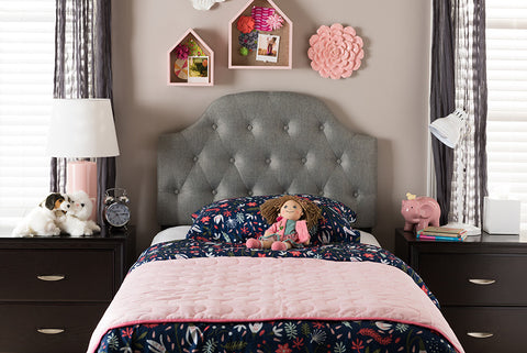 Baxton Studio Morris Grey Fabric Button-Tufted Twin Size Headboard-Headboards & Footboards-HipBeds.com