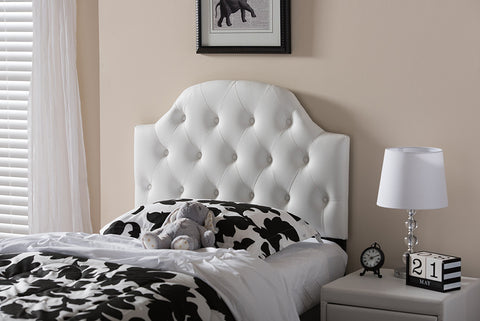 Baxton Studio Morris White Faux Leather Button-Tufted Twin Size Headboard-Headboards & Footboards-HipBeds.com