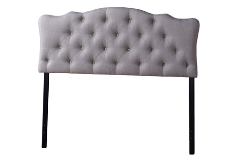 Baxton Studio Rita Modern and Contemporary Full Size Light Beige Fabric Upholstered Button-tufted Scalloped Headboard-Headboards & Footboards-HipBeds.com