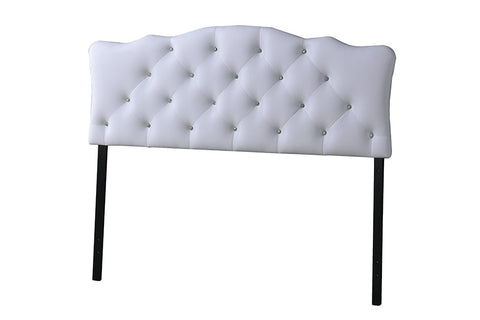 Baxton Studio Rita Modern and Contemporary Full Size White Faux Leather Upholstered Button-tufted Scalloped Headboard-Headboards & Footboards-HipBeds.com