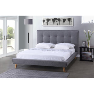 Baxton Studio Jonesy Scandinavian Style Mid-century Grey Fabric Upholstered Queen Size Platform Bed - Grey-Platform Beds-HipBeds.com